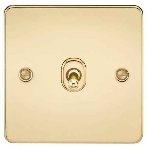 Knightsbridge FP12TOGPB Flat Plate 10A 1G INTERMEDIATE Toggle Switch - Polished Brass