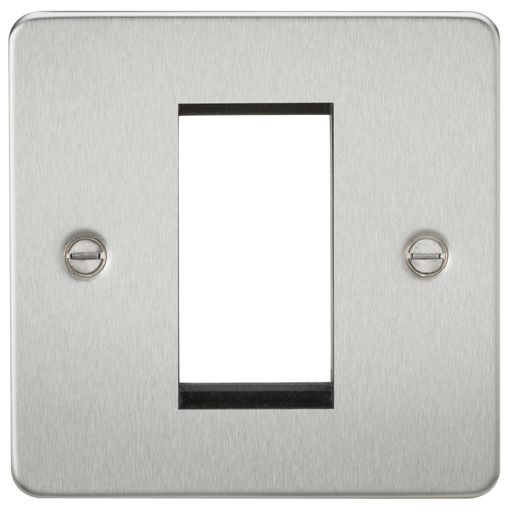 Knightsbridge FP1GBC 1G Modular Face Plate - Brushed Chrome - Knightsbridge - Sparks Warehouse