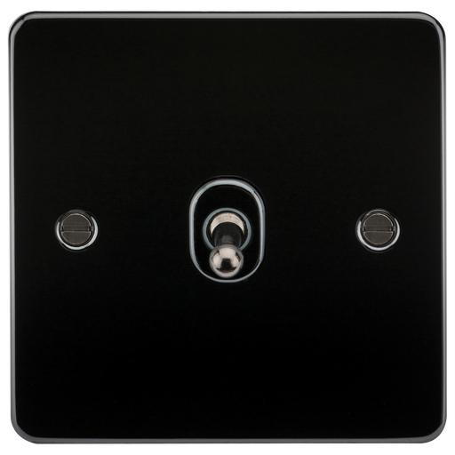 Knightsbridge FP1TOGGM Flat Plate 10A 1G 2 WAY Toggle Switch - Gunmetal - Knightsbridge - sparks-warehouse
