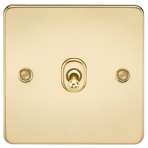 Knightsbridge FP1TOGPB Flat Plate 10A 1G 2 WAY Toggle Switch - Polished Brass