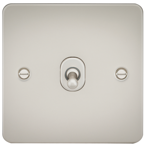 Knightsbridge FP1TOGPL Flat Plate 10A 1G 2 WAY Toggle Switch - Pearl - Knightsbridge - sparks-warehouse