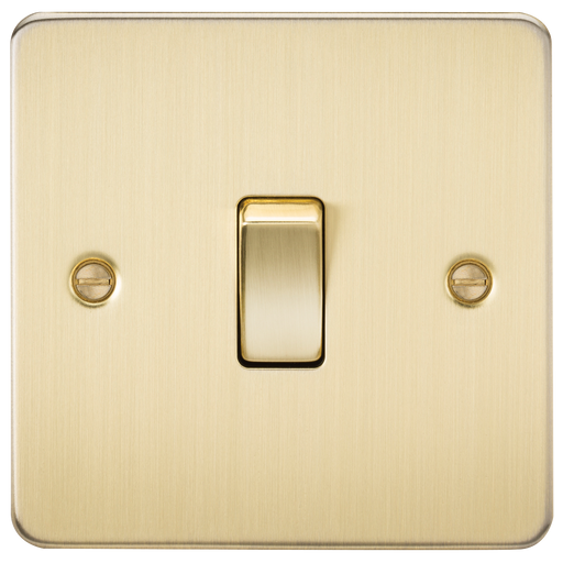 Knightsbridge FP2000BB Flat Plate 10A 1G 2 WAY Switch - Brushed Brass - Knightsbridge - sparks-warehouse