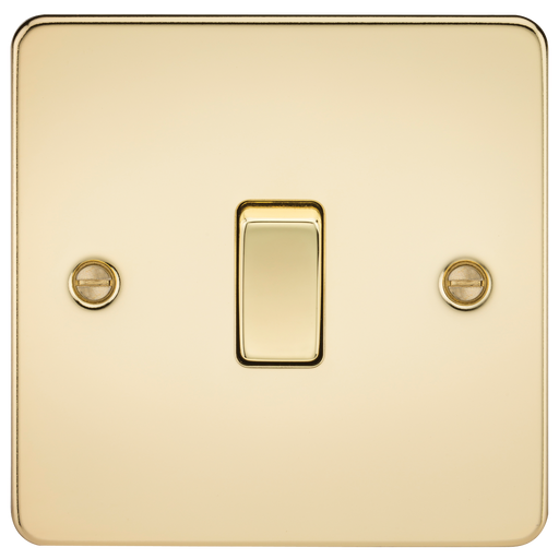 Knightsbridge FP2000PB Flat Plate 10A 1G 2 WAY Switch - Polished Brass