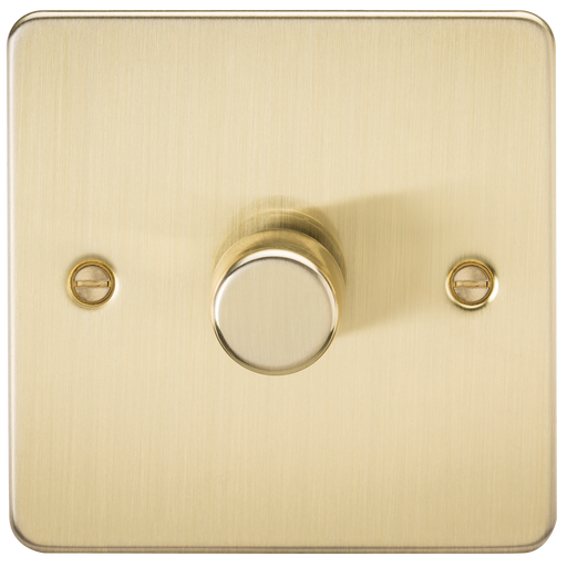 Knightsbridge FP2181BB Flat Plate 1G 2 Way LED Dimmer 40-200W - Brushed Brass - Knightsbridge - sparks-warehouse