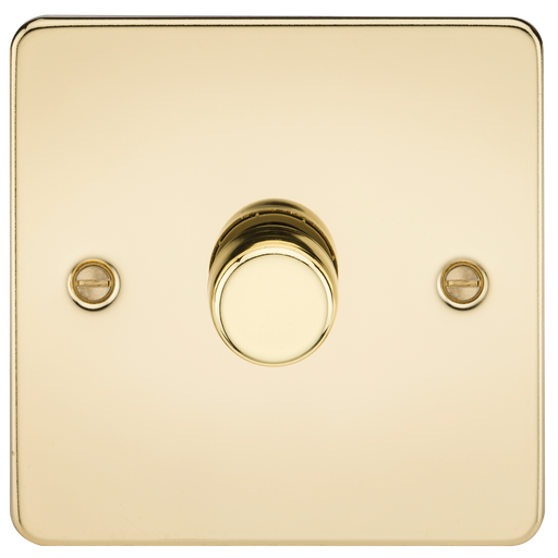 Knightsbridge FP2181PB Flat Plate 1G 2 WAY Dimmer 60-200W - Polished Brass