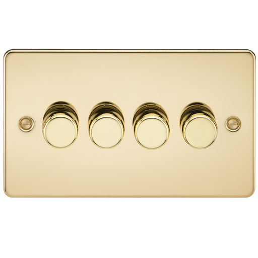 Knightsbridge FP2164PB Flat Plate 4G 2 WAY Dimmer 60-400W - Polished Brass