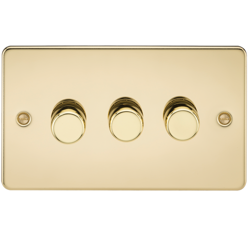 Knightsbridge FP2173PB Flat Plate 3G 2 WAY 40-400W Dimmer - Polished Brass