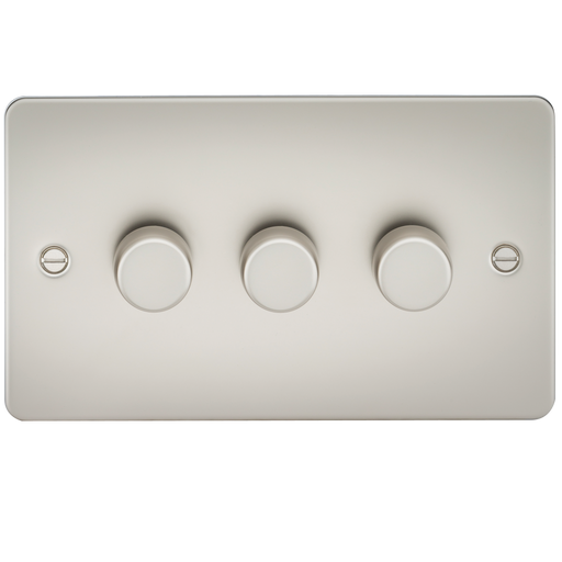 Knightsbridge FP2183PL Flat Plate 3G 2 way 10-200W (5-150W LED) Trailing Edge Dimmer - Pearl - Knightsbridge - Sparks Warehouse