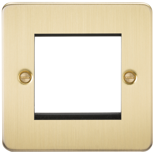 Knightsbridge FP2GBB 2G Modular Face Plate - Brushed Brass - Knightsbridge - Sparks Warehouse