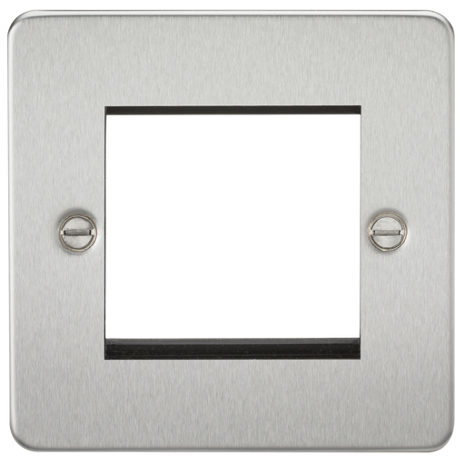 Knightsbridge FP2GBC 2G Modular Face Plate - Brushed Chrome - Knightsbridge - Sparks Warehouse