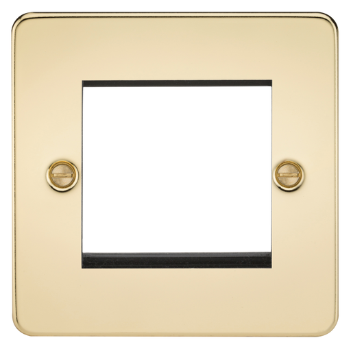 Knightsbridge FP2GPB 2G Modular Face Plate - Polished Brass - Knightsbridge - Sparks Warehouse