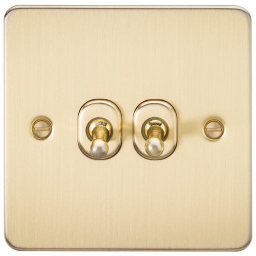 Knightsbridge FP2TOGBB Flat Plate 10A 2G 2 WAY Toggle Switch - Brushed Brass - Knightsbridge - sparks-warehouse