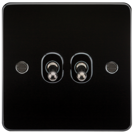 Knightsbridge FP2TOGGM Flat Plate 10A 2G 2 WAY Toggle Switch - Gunmetal - Knightsbridge - sparks-warehouse