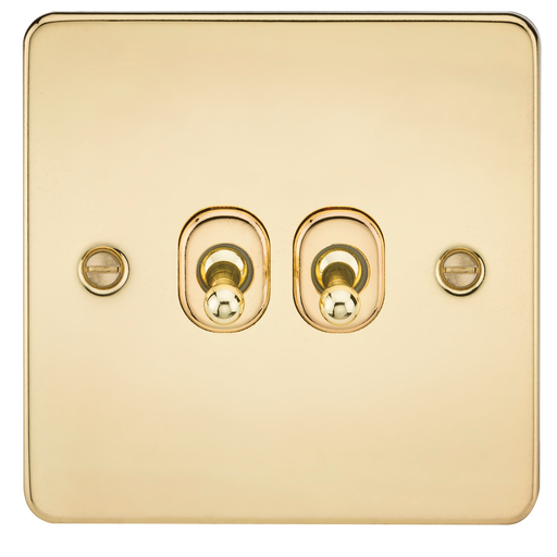 Knightsbridge FP2TOGPB Flat Plate 10A 2G 2 WAY Toggle Switch - Polished Brass