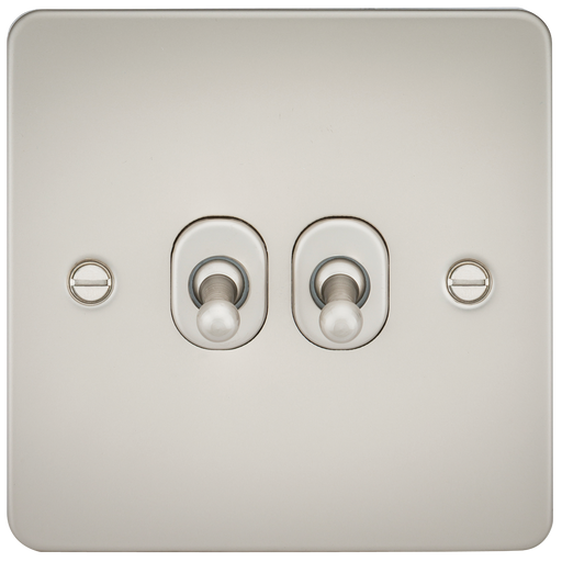 Knightsbridge FP2TOGPL Flat Plate 10A 2G 2 WAY Toggle Switch - Pearl - Knightsbridge - sparks-warehouse