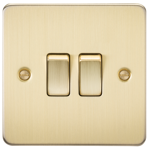 Knightsbridge FP3000BB Flat Plate 10A 2G 2 WAY Switch - Brushed Brass - Knightsbridge - sparks-warehouse