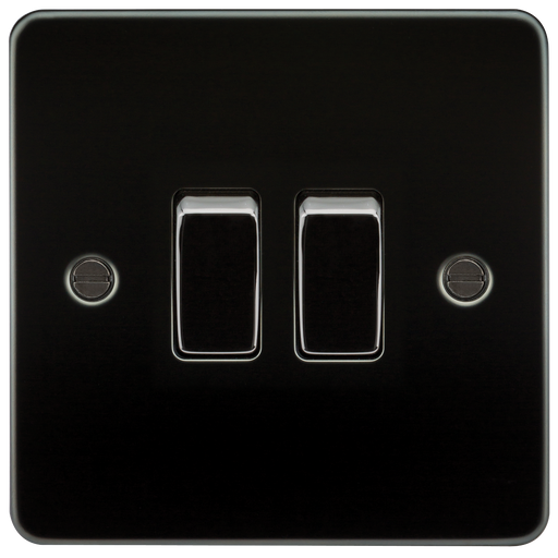 Knightsbridge FP3000GM Flat Plate 10A 2G 2 WAY Switch - Gunmetal - Knightsbridge - sparks-warehouse