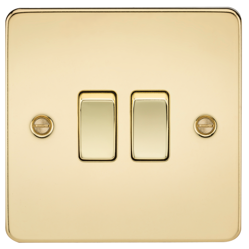 Knightsbridge FP3000PB Flat Plate 10A 2G 2 WAY Switch - Polished Brass