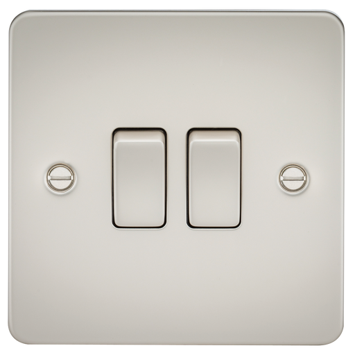 Knightsbridge FP3000PL Flat Plate 10A 2G 2 WAY Switch - Pearl - Knightsbridge - sparks-warehouse