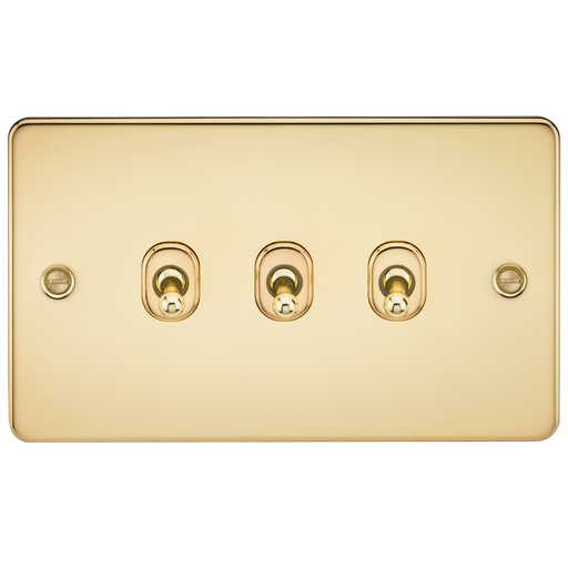 Knightsbridge FP3TOGPB Flat Plate 10A 3G 2 WAY Toggle Switch - Polished Brass