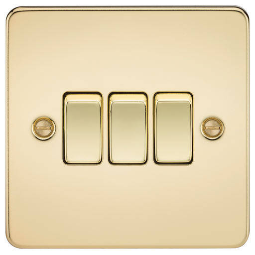 Knightsbridge FP4000PB Flat Plate 10A 3G 2 WAY Switch - Polished Brass