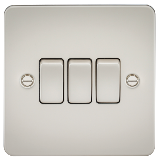 Knightsbridge FP4000PL  Flat Plate 10A 3G 2 WAY Switch - Pearl - Knightsbridge - sparks-warehouse