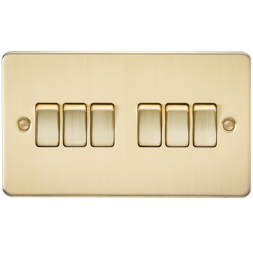 Knightsbridge FP4200BB Flat Plate 10A 6G 2 WAY Switch - Brushed Brass - Knightsbridge - sparks-warehouse