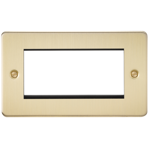 Knightsbridge FP4GBB 4G Modular Face Plate - Brushed Brass - Knightsbridge - Sparks Warehouse