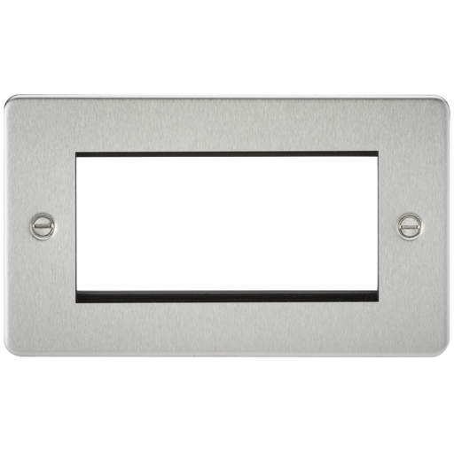 Knightsbridge FP4GBC 4G Modular Face Plate - Brushed Chrome - Knightsbridge - Sparks Warehouse