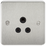 Knightsbridge FP5ABC Flat Plate 5A UNSwitched Socket - Brushed Chrome With Black Insert