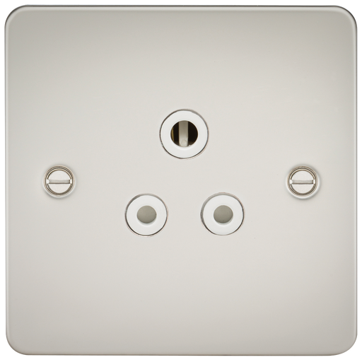 Knightsbridge FP5APLW Flat Plate 5A UNSwitched Socket - Pearl With White Insert - Knightsbridge - sparks-warehouse