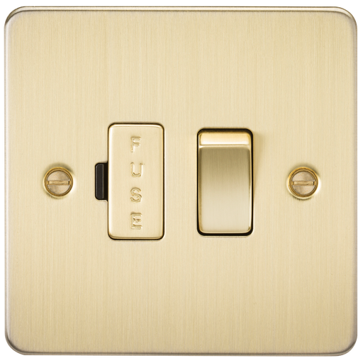Knightsbridge FP6300BB Flat Plate 13A Switched Fused Spur Unit - Brushed Brass - Knightsbridge - sparks-warehouse