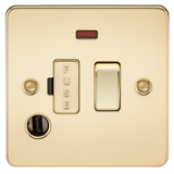 Knightsbridge FP6300FPB Flat Plate 13A Switched Fused Spur Unit With Neon AND Flex Outlet - Polished Brass