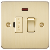 Knightsbridge FP6300NBB Flat Plate 13A Switched Fused Spur Unit With Neon - Brushed Brass