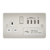 Knightsbridge FP7USB4PLW Flat Plate 1G 13A Switched Socket With QUAD USB Charger 5V DC 5.1A - Pearl With White Insert
