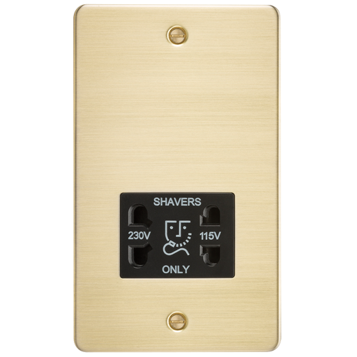 Knightsbridge FP8900BB Flat Plate 115V/230V Dual VOLTAGE Shaver Socket - Brushed Brass With Black Insert - Knightsbridge - sparks-warehouse