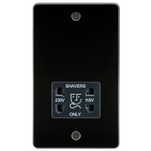 Knightsbridge FP8900GM Flat Plate 115V/230V Dual VOLTAGE Shaver Socket - Gunmetal With Black Insert - Knightsbridge - sparks-warehouse