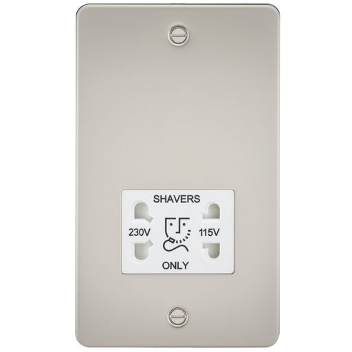 Knightsbridge FP8900PLW Flat Plate 115V/230V Dual VOLTAGE Shaver Socket - Pearl With White Insert - Knightsbridge - sparks-warehouse