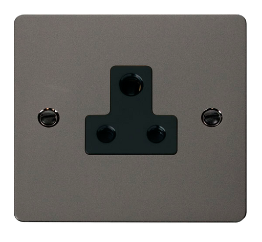 Scolmore FPBN038BK Define Black Nickel Flat Plate 5a Round Pin Socket Outlet