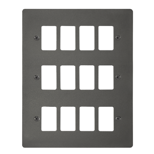 Scolmore FPBN20512 - 12 Gang GridPro® Frontplate - Black Nickel - Scolmore - Sparks Warehouse