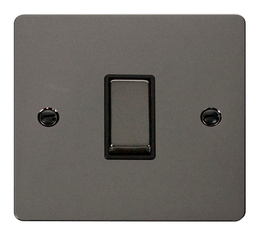 Scolmore FPBN411BK Define - Flat Plate 1 Gang Light Switch - Black Nickel - Scolmore - Sparks Warehouse