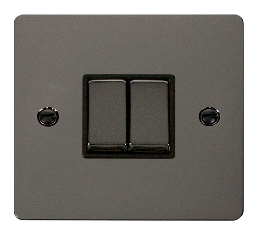 Scolmore FPBN412BK Define - Flat Plate 2 Gang Light Switch - Black Nickel - Scolmore - Sparks Warehouse