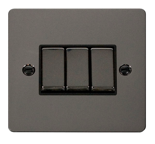 Scolmore FPBN413BK Define - Flat Plate 3 Gang Light Switch - Black Nickel - Scolmore - Sparks Warehouse