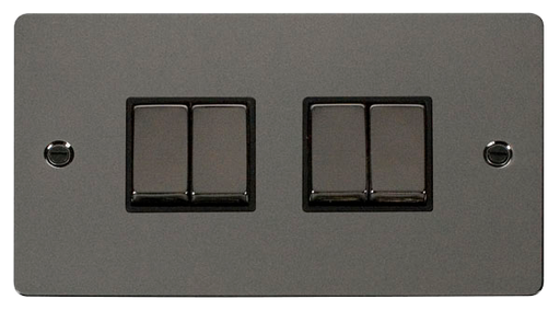 Scolmore FPBN414BK Define - Flat Plate 4 Gang Light Switch - Black Nickel - Scolmore - Sparks Warehouse