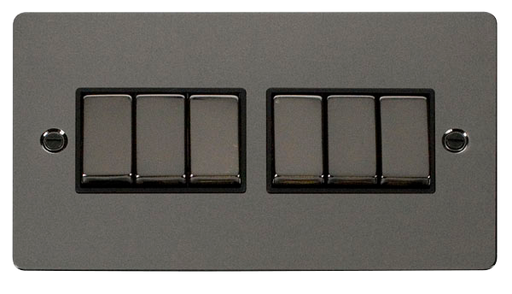 Scolmore FPBN416BK Define - Flat Plate 6 Gang Light Switch - Black Nickel - Scolmore - Sparks Warehouse