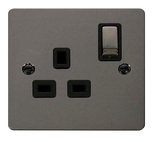 Scolmore FPBN535BK Define - Flat Plate Single Gang Plug Socket - Black Nickel - Scolmore - Sparks Warehouse