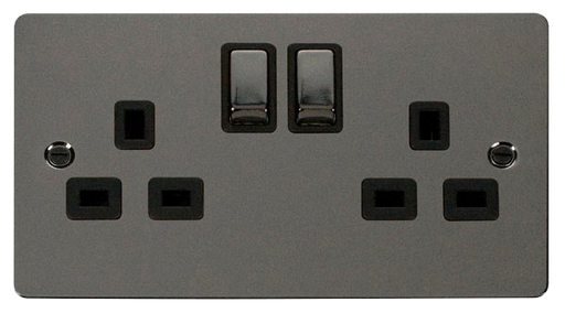 Scolmore FPBN536BK Define - Flat Plate Two Gang Plug Socket - Black Nickel - Scolmore - Sparks Warehouse