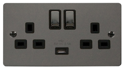 Scolmore FPBN570BK Define - Flat Plate Two Gang Plug Socket With USB - Black Nickel - Scolmore - Sparks Warehouse