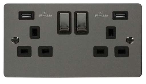 Scolmore FPBN580BK Define - Flat Plate Two Gang Plug Socket With USB - Black Nickel - Scolmore - Sparks Warehouse