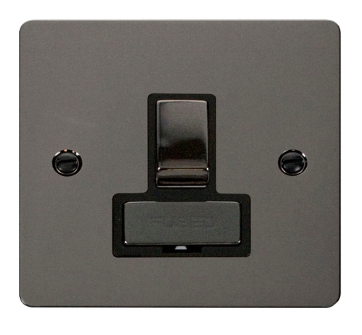 Scolmore FPBN751BK Define Black Nickel Flat Plate Ingot 13a Switch Spur W/o F/o